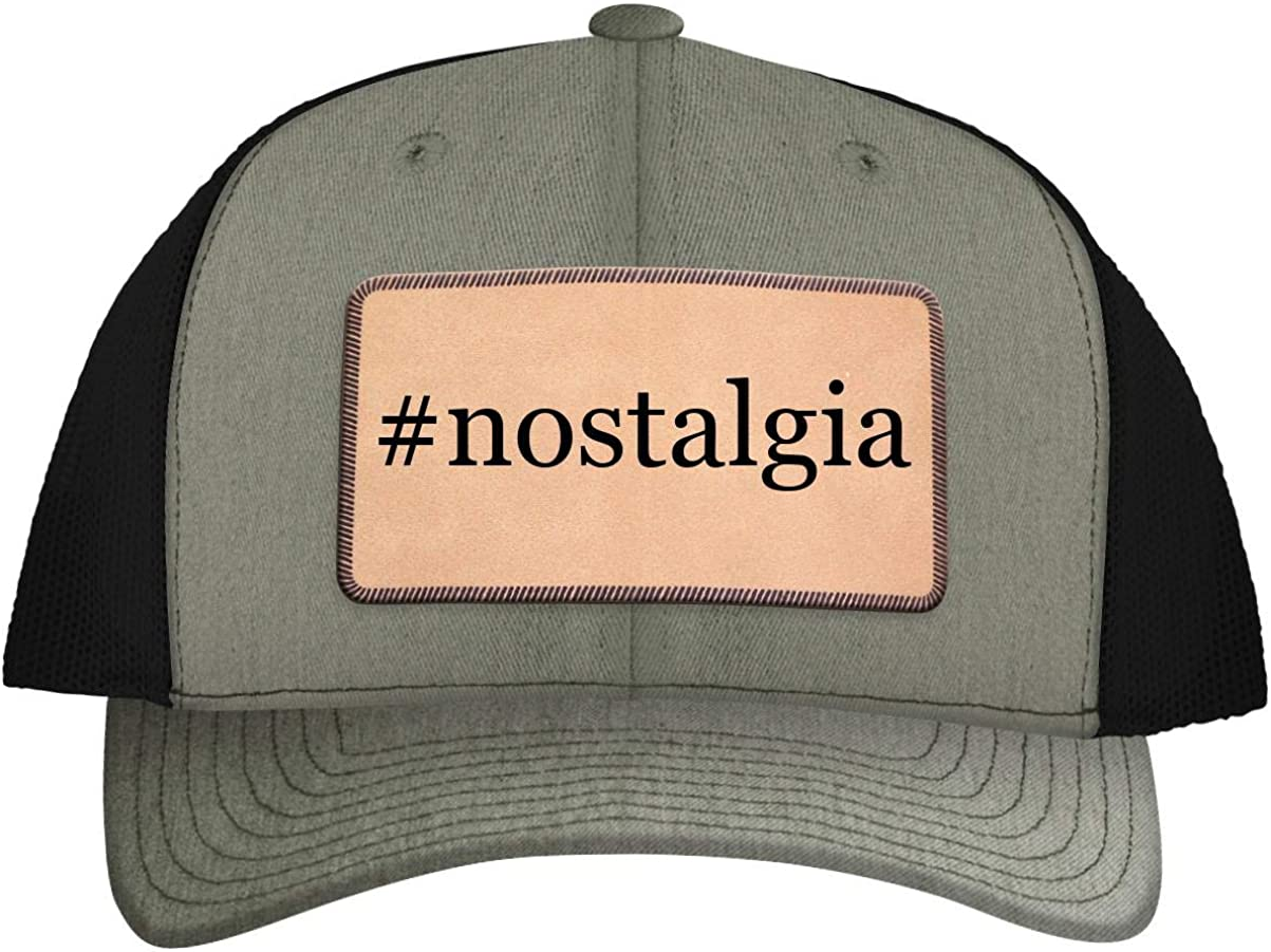 #Nostalgia - Leather Hashtag Light Brown Patch Engraved Trucker Hat