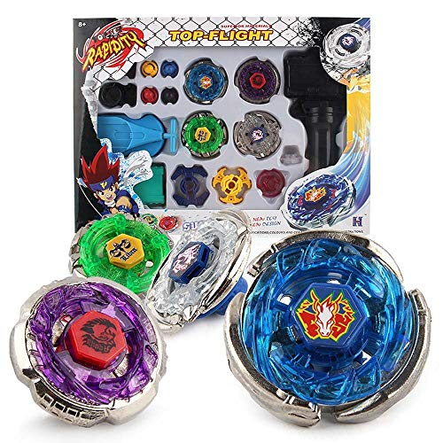 Metal Master Fusion Storm Pegasus/Flame Libra/Earth Eagle/ Lightning L-Drago with Launcher Grip Gyro top flight Set -