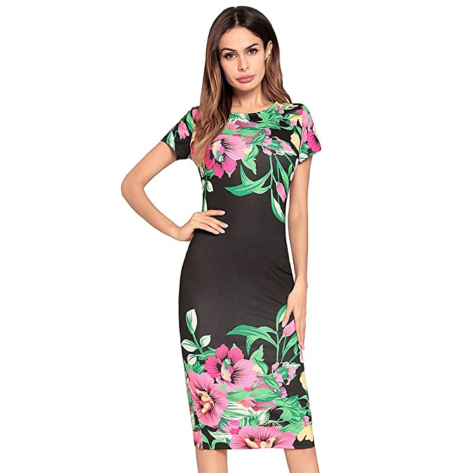 antaina Vestido de Fiesta de Dama de Honor de Bodycon Bodycon Negro Abrigo Floral Mujeres Lápiz