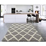 Sweet Home Stores Cozy Shag Collection Moroccan Trellis Design Shag Rug Contemporary Living & Bedroom Soft Shaggy Area Rug, Grey & Cream, 94'' L x 118'' W