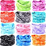 16-in-1 12PCS/8PCS/6PCS Multifunctional Headwear yoga Sports Stretchable Casual Headband Seamless Uv Solid Moisture Neckwarmer Headwrap Mask Bandana Scarf (12PCS-pink rains)