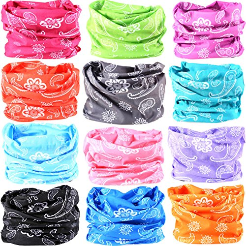 Track Cotton Bandana - 16-in-1 12PCS/8PCS/6PCS Multifunctional Headwear Yoga Sports Stretchable Casual Headband Seamless Uv Solid Moisture Neckwarmer Headwrap Mask Bandana Scarf (12PCS-Pink Rains)