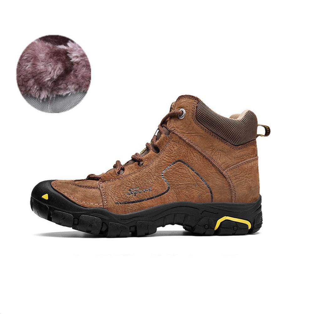 WDGT Männer Schwacher Anstieg Stiefel Wasserdicht und Rutschfest Echtleder Schnüren Warm Halten Leicht zum Winter Draussen Reisen Trekking Wandern Klettern Schuhe Sport