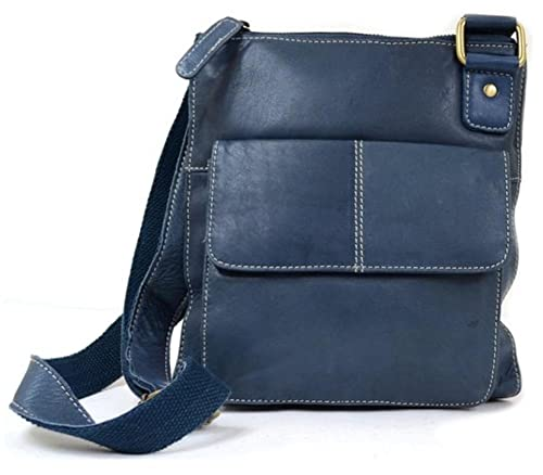 f20745b2f Ladies Butter Soft Premium Leather Cross Body Bag with Adjustable Shoulder  Strap (Blue)