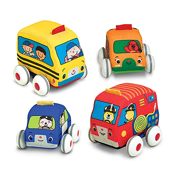 Review Melissa & Doug K's Kids Pull-Back Vehicle Set - Soft Baby Toy Set With 4 Cars and Trucks and Carrying Case