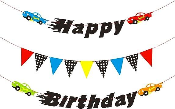 Amazon.com: BeYumi Cars - Pancarta de cumpleaños para niños ...