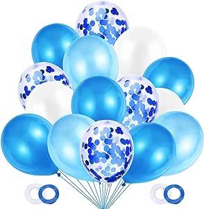 JOJOR Globos Azules y Blancos,60 Piezas Azul Globos con Confeti para Bebe 1 Año Cumpleaños,Niño Bautizos Comunion Baby Shower Azul,Bodas Aniversario Graduacion Fiesta Arco Decoracion: Amazon.es: Juguetes y juegos