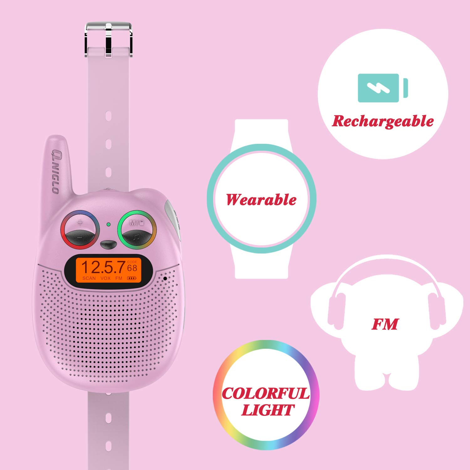 Qniglo FRS Walkie Talkies with FM, Wearable & Rechargeable Walkie Talkies for Kids, up to 2 Miles Kids Walkie Talkies for Bicycle, Hiking, Camping, Running (2 Packs, Pink) by Qniglo (Image #5)