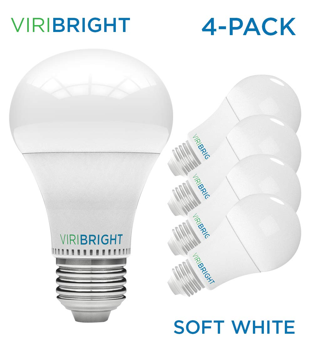 UL Listed Viribright 100W Equivalent LED Light Bulbs Daylight 13W A19 General Purpose 4-Pack Edison Medium Screw Base 6500K Non-Dimmable 1400 Lumens