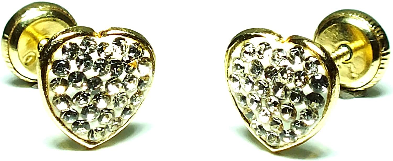Pendientes oro 18k,niña o mujer, modelo corazón con piedras engastadas de alto brillo y calidad. Con cierre de máxima seguridad.
