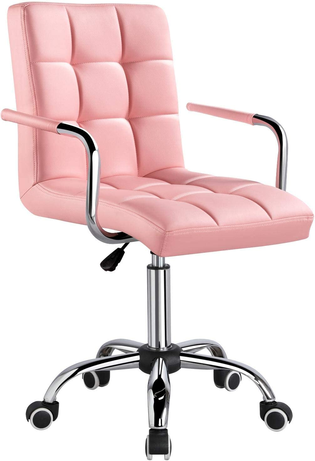 YAHEETECH Desk Chairs with Wheels/Armrests Modern PU Leather Office Chair Height Adjustable Home Computer Executive Chair on Wheels 360° Swivel - Pink