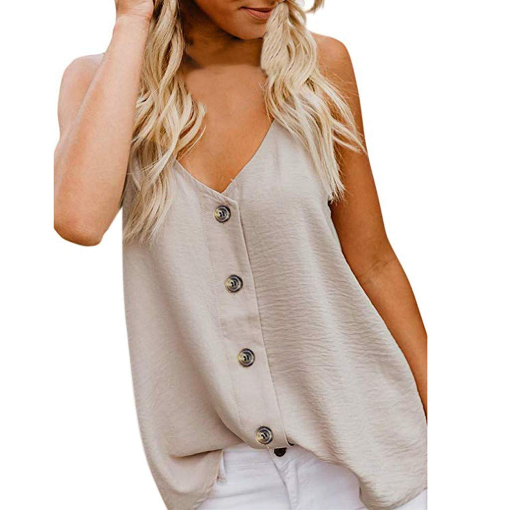 Hotkey Womens Short Sleeve Tops Plus Size Fashion Womens V-Neck Vest Sleeveless Button Shirt Casual Tank Tops Beige