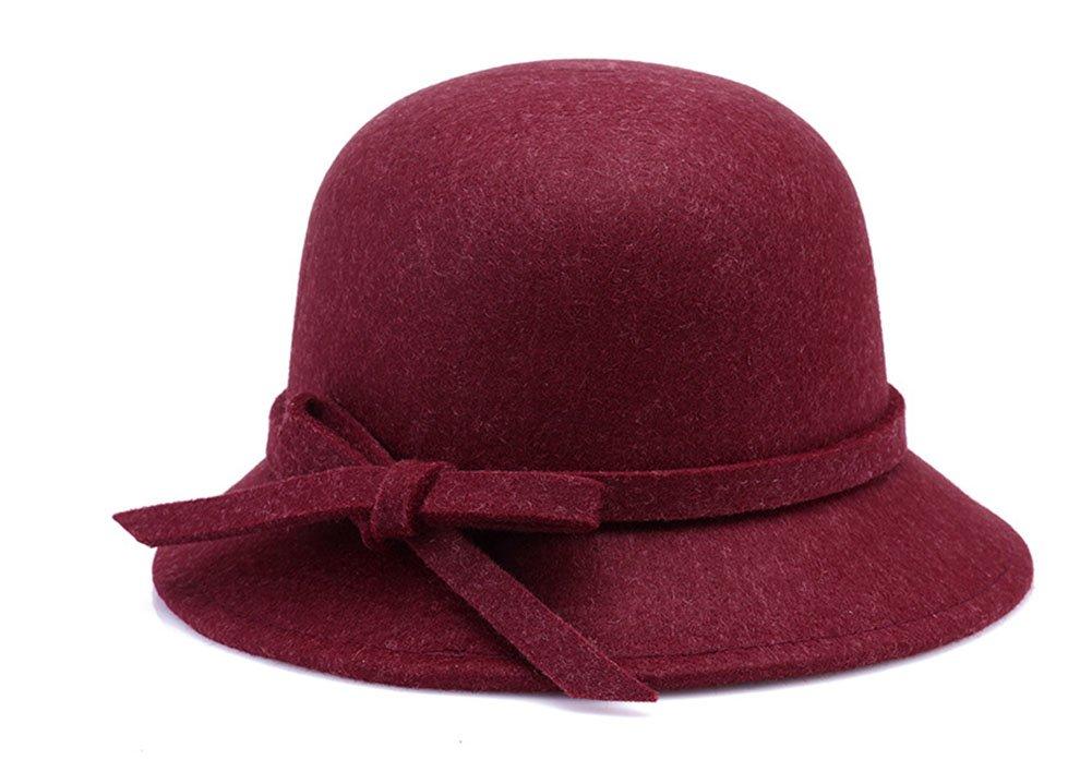 Roffatide Women's Woolen Bucket Hat Cloche Top Hat with Bowtie Winter Boonie Bowler Hat 6 Colors WineRed