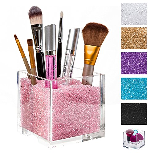 Acrylic Makeup Organizer & Makeup Brush Holders with PINK Diamonds. The #1 Gift for Girls. Best Containers with Rhinestones to Store Brushes, Eyeliners, Pencils, Lipstick & more. (Pink Rhinestone Purple)