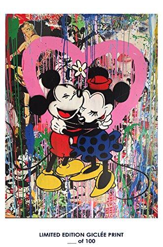 RARE POSTER graffiti MR. BRAINWASH mickey mouse & minnie mouse 2017 REPRINT giclee #'d/100!! - Brainwash Mr Art