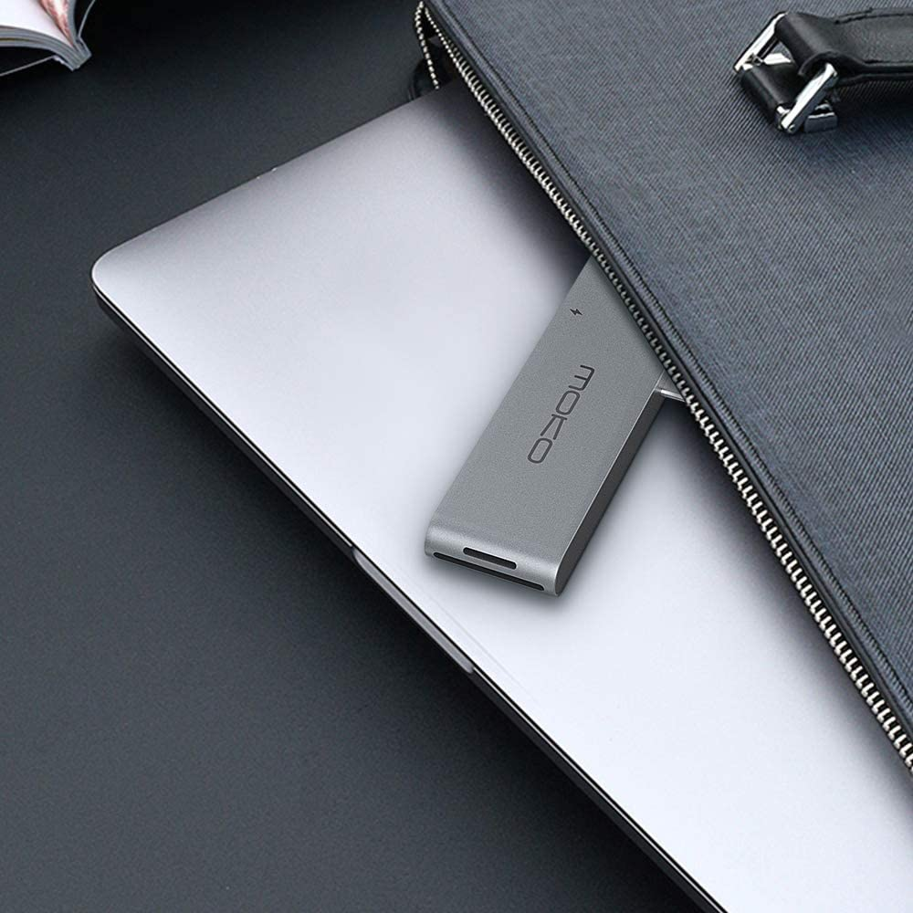 MoKo USB C Hub Adapter Compatible MacBook Pro//Air 2019//2018//2017 13 16 4K HDMI 2x USB 3.0 Ethernet Port SD//Micro SD Card Reader 7-in-2 Multiport Type C Dongle with Thunderbolt 3 5K@60Hz 100W PD