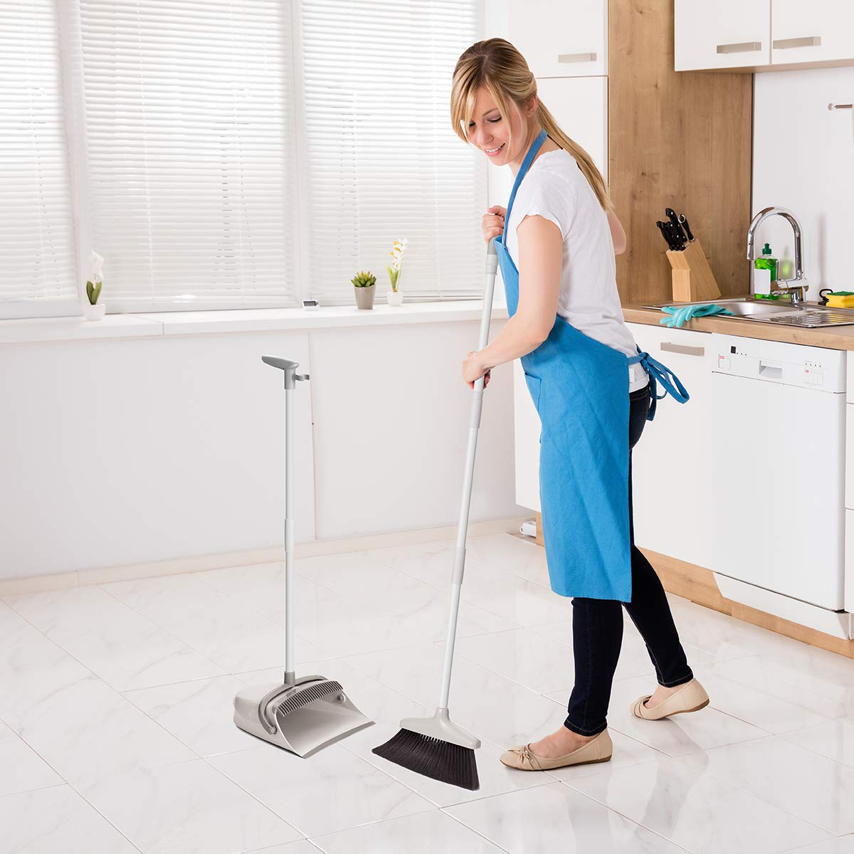 Broom and Dustpan Set, CQT Dust Pan and Broom with Long Handle for Home Kitchen Industry Lobby Floor Sweeping Upright Stand Up Dustpan Cleans Broom Combo by CQT (Image #2)