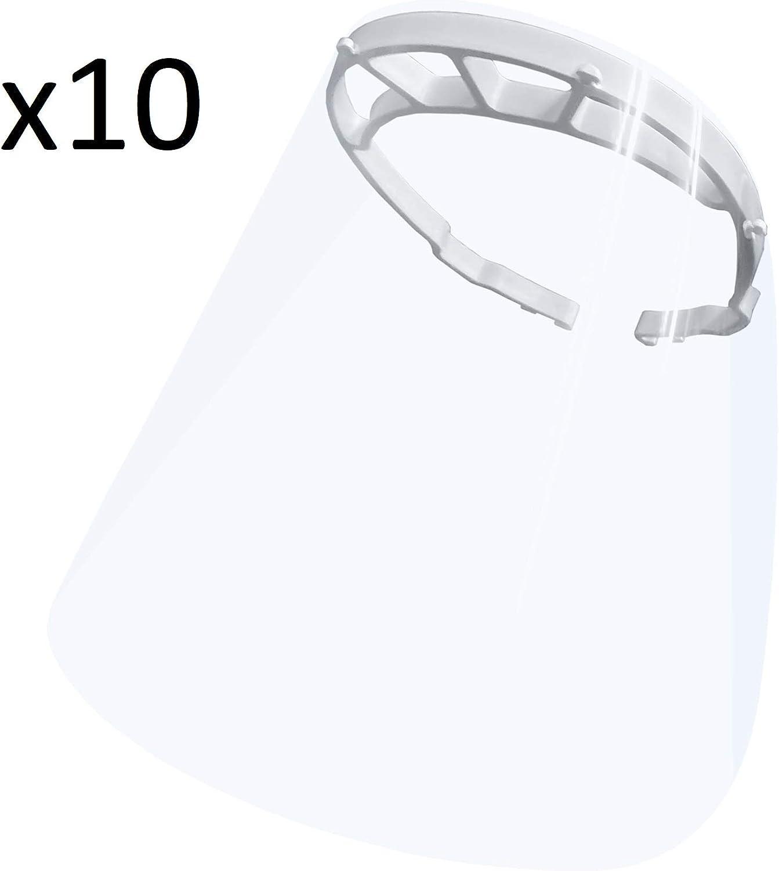 resol grupo 21415 Pack 10 unidades pantalla protección facial, visera protectora, mascarilla, Transparente