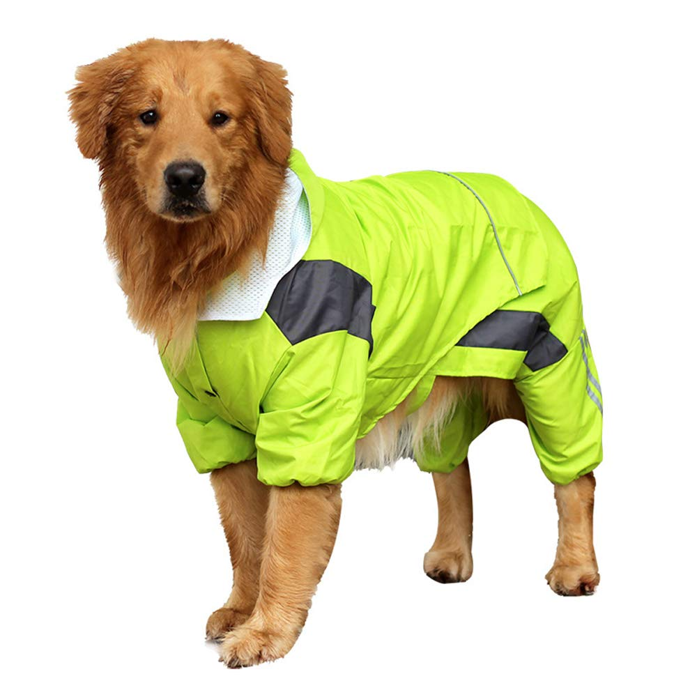 BBEART Pet Raincoat, Large Dog Hooded Four-Leg Raincoat with Reflective Waterproof Windproof Rain Jacket for Medium Large Dog (L, Green) by BBEART