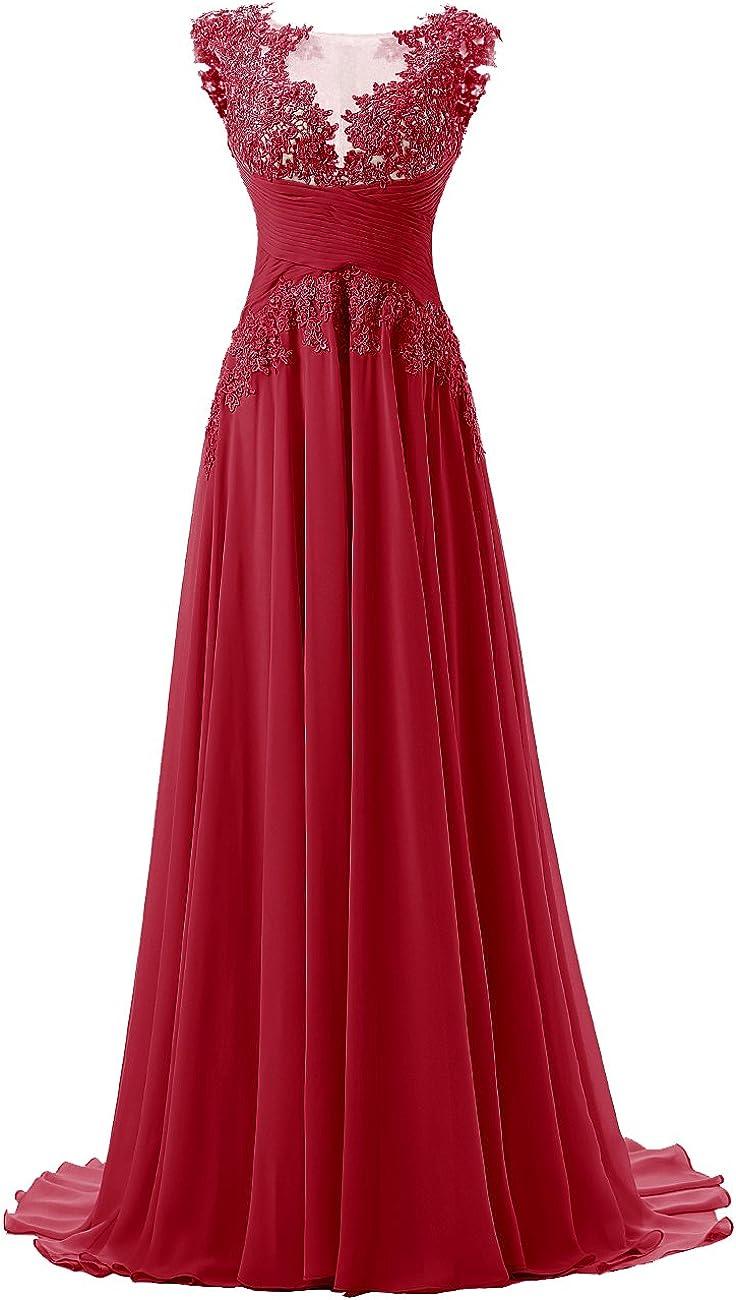 DRESSTELLS Damen Lace Rückseite Offen Ärmellos Chiffon Lange Abendkleider  Promi-Kleider Maxi elegant Brautjungfernkleid