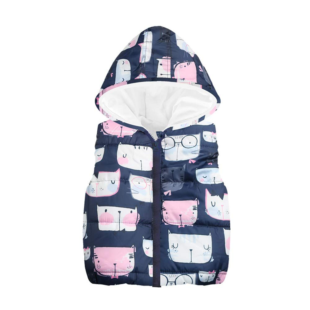 Londony ♪❤ Clearance Sales,Little Girls Toddler Baby Cat Print Vests Outerwear Hoodie Jacket Lightweight Cute Floral Londony007