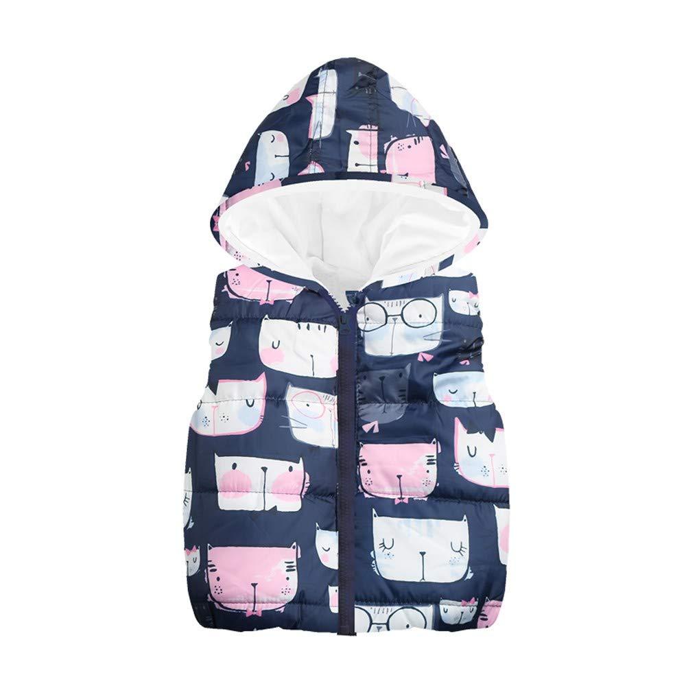 Toddler Baby Girls Cat Sleeveless Puffer Hoodie Vest Jacket Coat Windproof Winter Outwear Coat