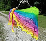 Neon Rainbow Hand Knit Shawlette - It's a Gift that Glows !!