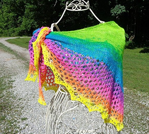 Neon Rainbow Hand Knit Shawlette - It's a Gift that Glows !! by Barnett's Creek Farm,LLC