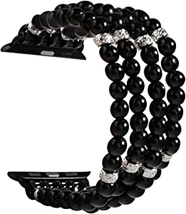 GEMEK Compatible with Apple Watch Band 42mm 44mm Women iWatch Bands Series 6/5/4/3/2/1, Handmade Beaded Elastic Stretch Pearl Bracelet Replacement Strap for Girls Wristband (Black)