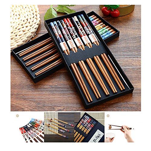 Ximimark 5 Pairs Japanese Wood Chopsticks Set Reusable Non-Slip Sushi Chop Sticks Gift Set Plutus Cat Style from ximimark