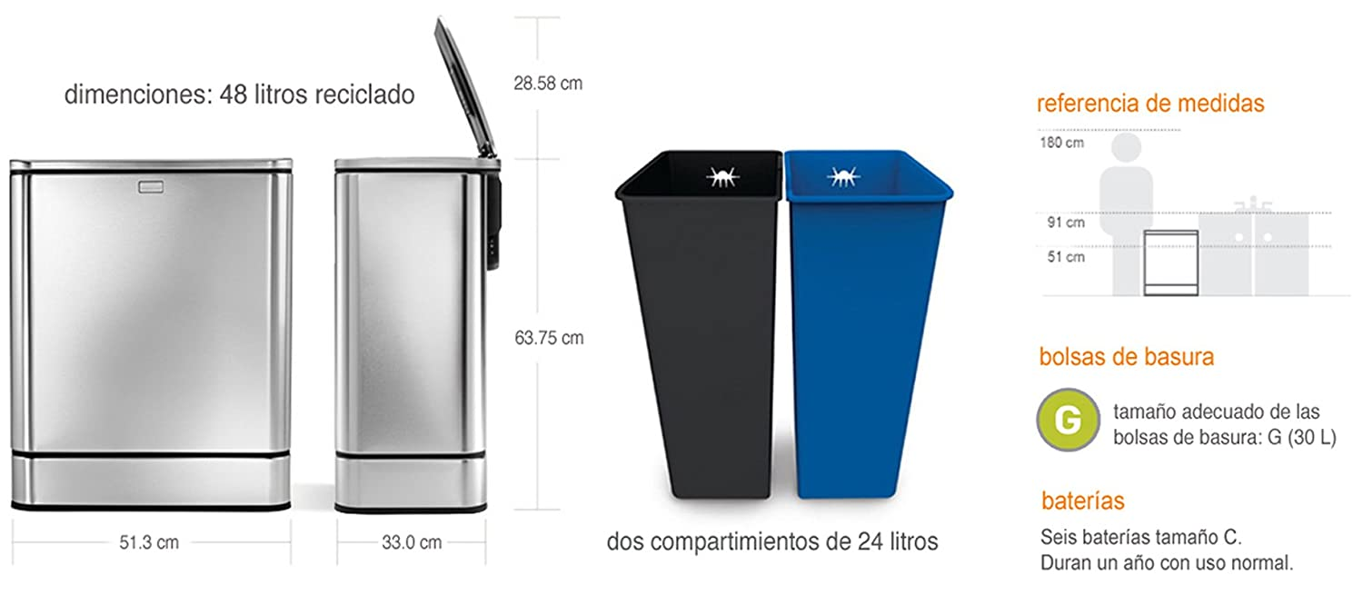 Amazon.com: BOTE de BASURA de ACERO INOXIDABLE para ...