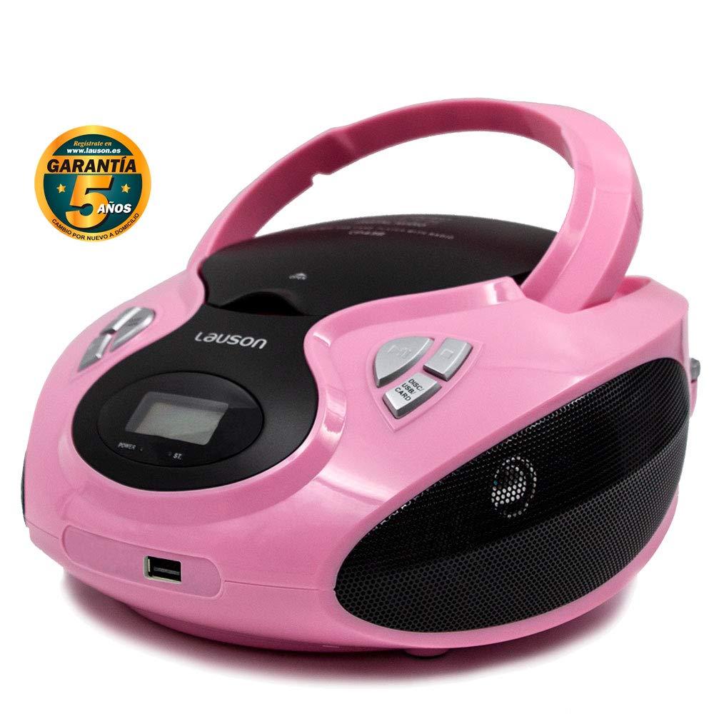 Lauson Radio y Reproductor de CD Portátil con USB | Radio Am/FM | USB y Mp3 | CD Player con Salida para Auriculares 3.5mm | CP638 (Rosa)