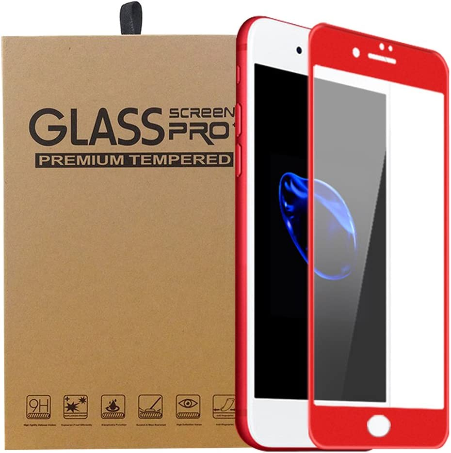 SEANFAR 0.26M Anti-Scratch Bubble-Free Case Friendly Screen Protector Tempered Glass for iPhone 10 Plus-Red iPhone 7 Plus 3D Full Coverage Screen Protector iPhone 7 Plus Tempered Glass