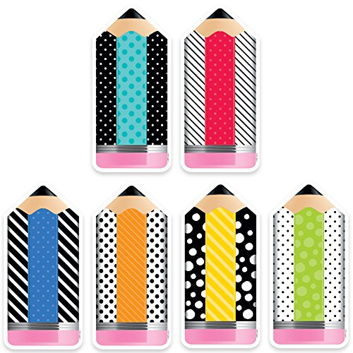 "Creative Teaching Press  Bold & Bright Striped & Spotted Pencils Cut Outs 6"" (3283)"