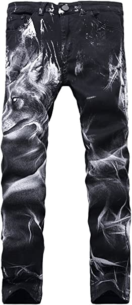 Mens Skull Distressed Ripped Long Straight Slim Fit Skinny Jeans
