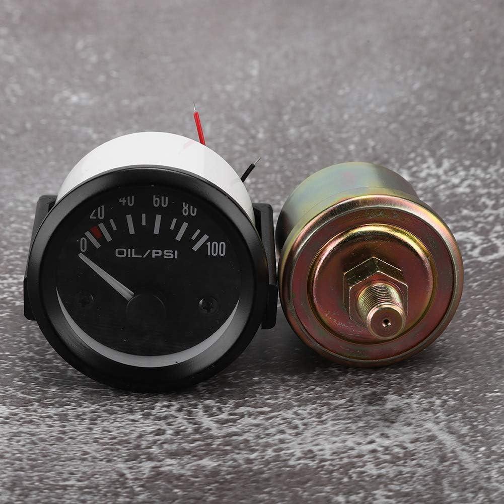 Tarente 52 mm 2 Pulgadas Medidor de Aceite 12V del Coche Universal electromagn/ética Indicador de presi/ón Indicador autom/ático Modificado