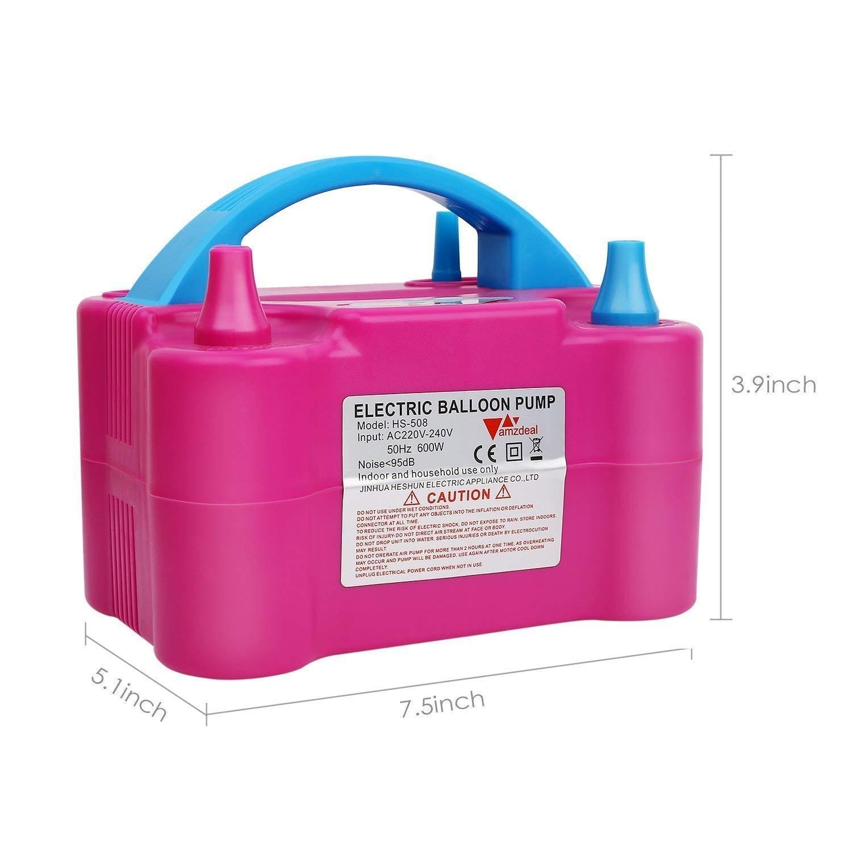 Amzdeal Electric Balloon Pump Dual Nozzle Balloon Inflator Portable ...