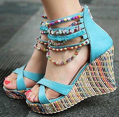 getmorebeauty Womens Wedge Sandals Pearls Across The Top Platform High Heels Blue mRw4Of