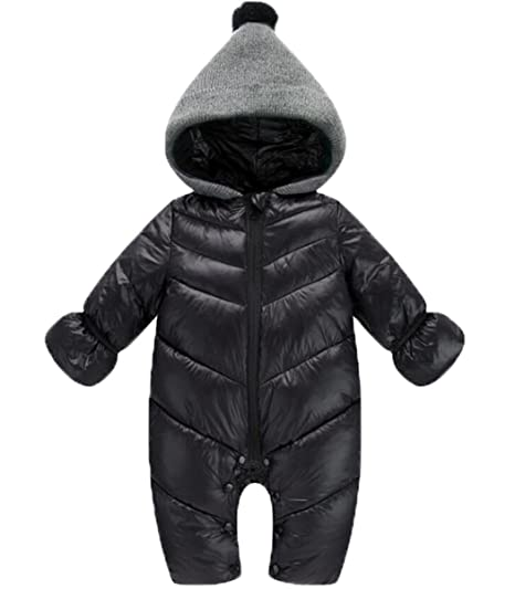 40c693e9f Amazon.com  Baby Girls Boys One Piece Front Zippers Button Winter ...