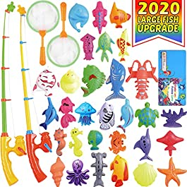 CozyBomB Magnetic Fishing Pool Toys Game for Kids – Water Table Bathtub Kiddie Party Toy with Pole Rod Net Plastic…