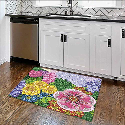 Soft Microfiber Shag Bath Rug Nature Flower Petals Florets Vintage Romantic Buds Summer Blooms Feminine Lilac Green Weather-Proof and Mold