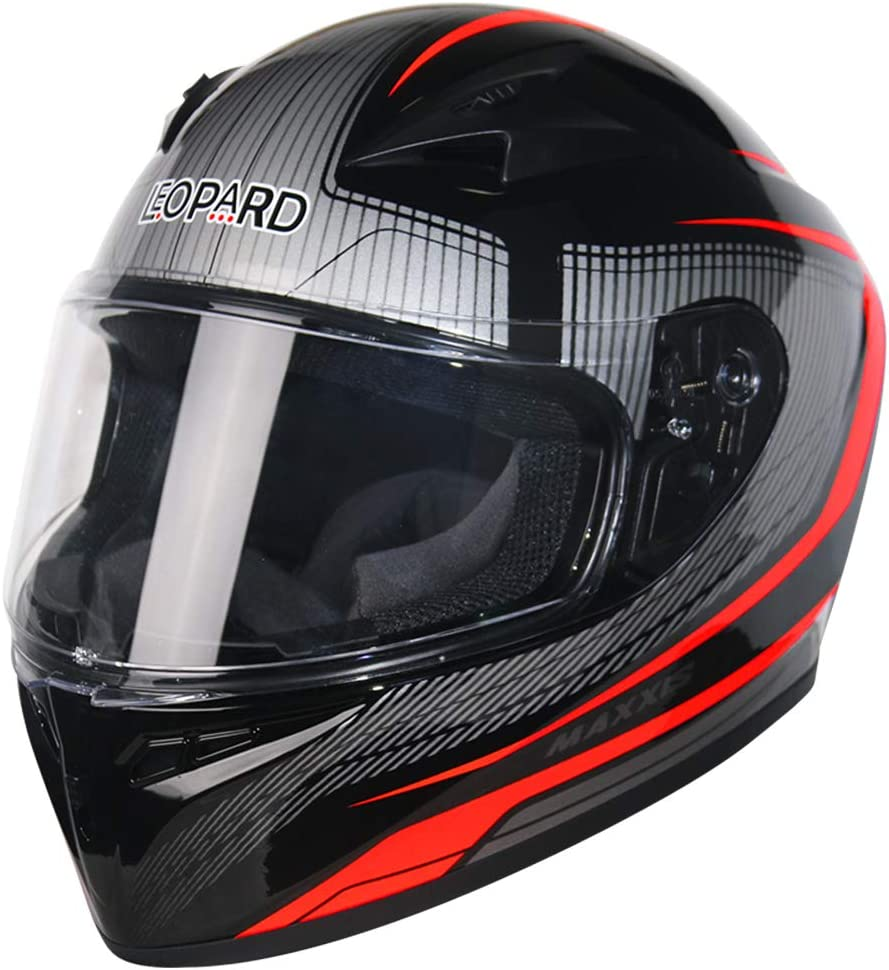 Leopard LEO-813 Full Face Motorbike Helmet DOT /& ECE 22.05 Approved #06 Red//Blue//White//Black M 57-58cm