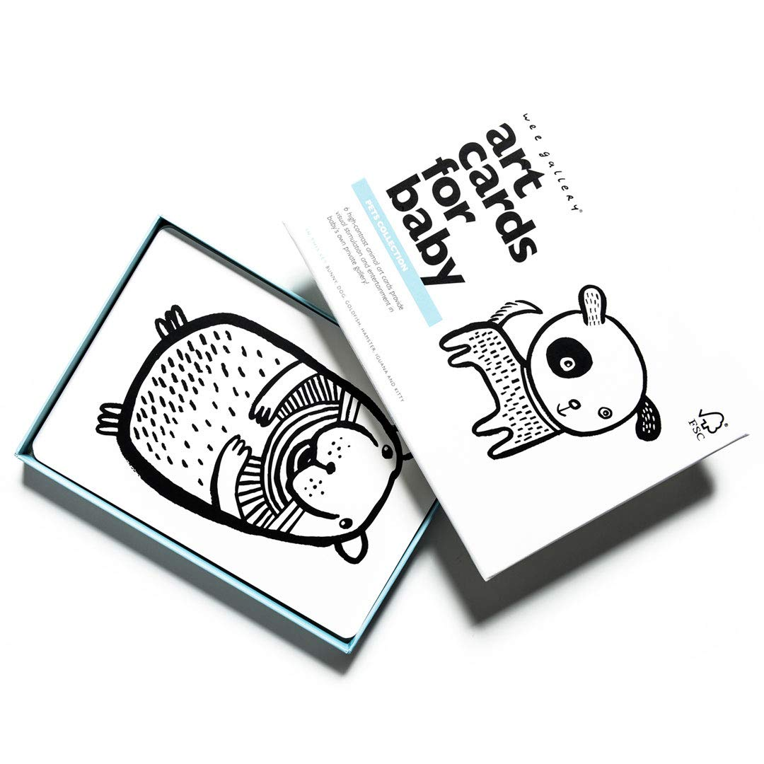 Wee Gallery, Art Cards for Baby, Black and White Baby Cards, 0-12 Months - Pets Collection