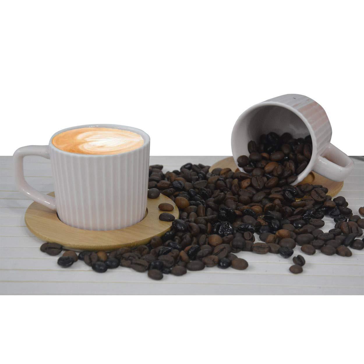 Tazas de Caf/é 6 Unidades Hogar y Mas Juego de Caf/é Natura Rosa Palo Moderno 100 ml 6 Tazas con Platos de Bamb/ú