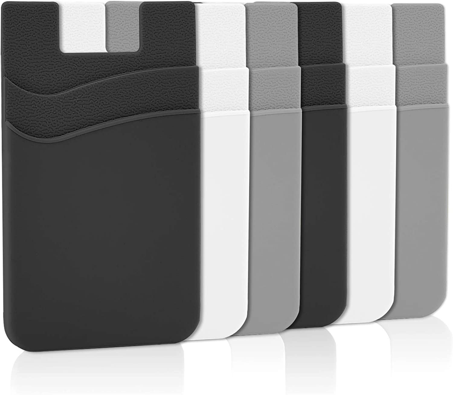 Senose Card Holder for Back of Phone Stick on Phone Cases Great Storage Compatible with iPhone//Android//Samsung Galaxy Pack of 5 Phone Wallet