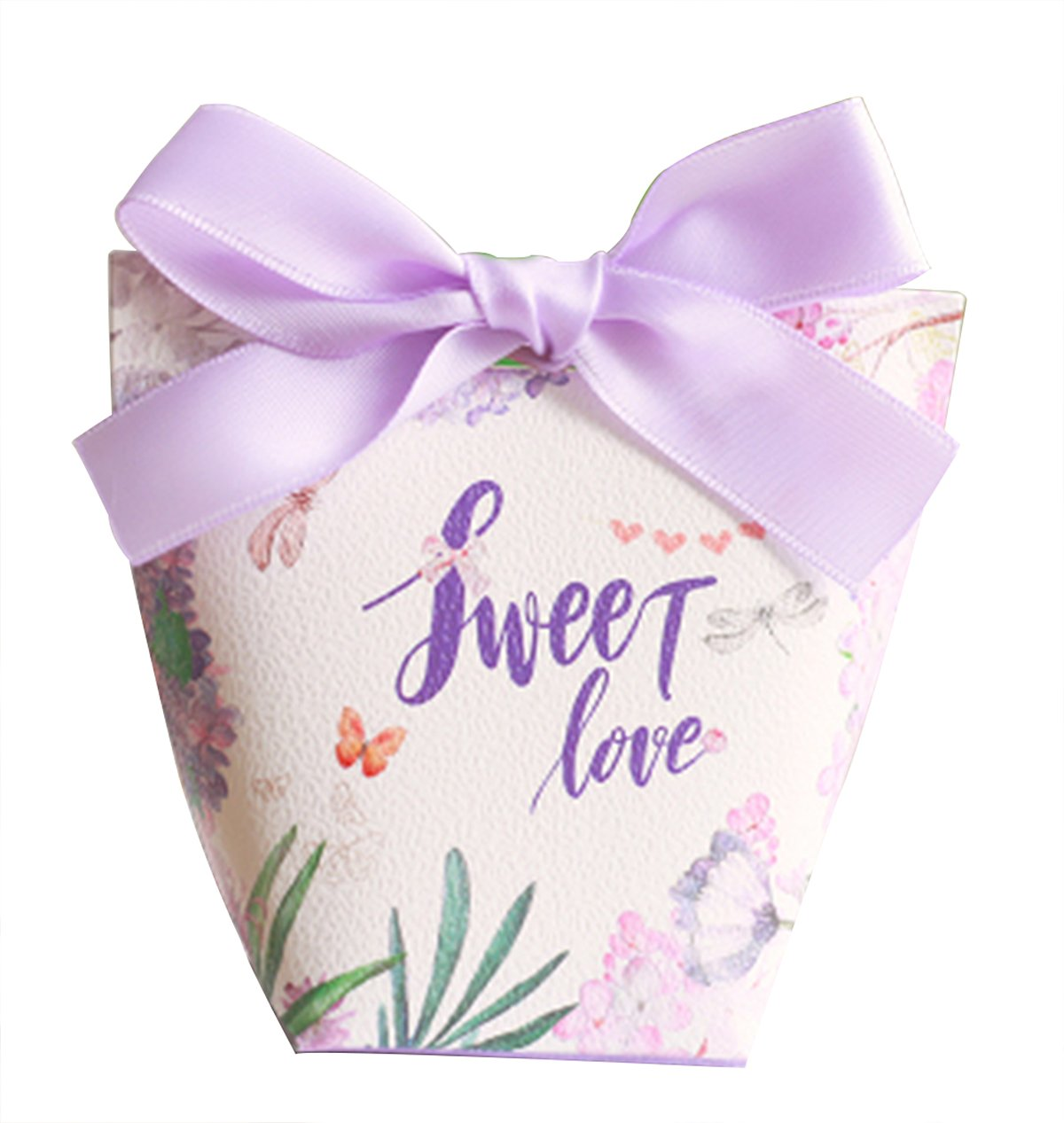 autulet Cute Purple Baby Boy Shower Favors Candy Wrappers Romantic Wedding Favor Candy Box With Ribbon 50 Pieces (Candies or chocolates not included)