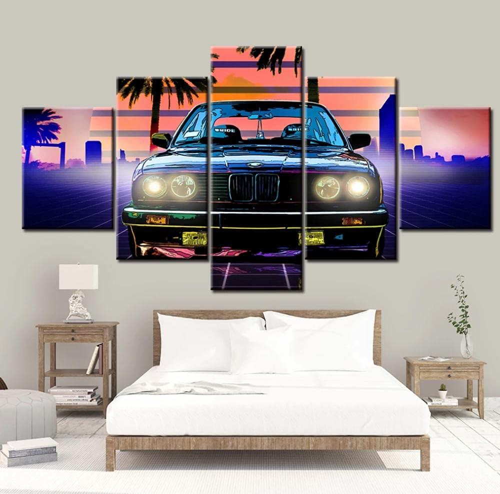 5 Panels Bmw E3 Auto Retro Wandkunst Poster Leinwand Bilder HD-Drucke Gemälde Wohnkultur Schlafzimmer Wohnzimmer 150x80cm