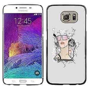 Shell-Star Arte & diseño plástico duro Fundas Cover Cubre Hard Case Cover para Samsung Galaxy S6 / SM-G920 / SM-G920A / SM-G920T / SM-G920F / SM-G920I ( Retro Girl )