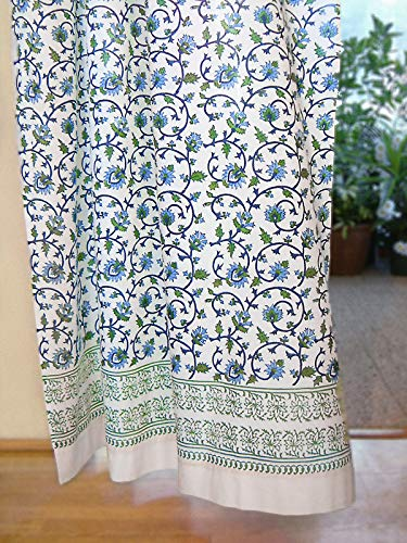 (Saffron Marigold - Moonlit Taj - Blue, Green, Turquoise, and White Indian Inspired Hand Printed - Elegant Romantic Sheer Cotton Voile Curtain Panel - Tab Top or Rod Pocket - (46 x 63))