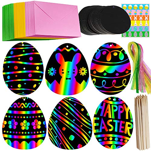 Supla 30 Set Scratch Easter Eggs Ornaments Magic Color Scratch Art Rainbow Easter Day Egg Cutouts with Holes and Ribbons Scratching Tools Envelopes Stickers for Kids Church Classroom